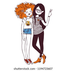 Two girls, teenagers, best friends. Isolated vector illustration.