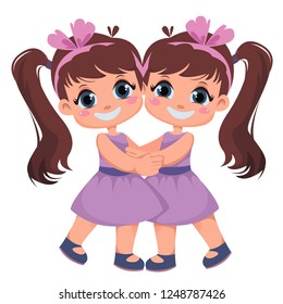 Two girls are twins. Sisters embrace. Kids on holiday. International Day of Hugs. Vector illustration in cartoon style.