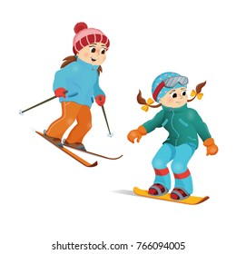 Two girls in warm clothes snowboarding and skiing, winter sport activity, cartoon vector illustration isolated on white background. Happy girl friends snowboard and ski, winter vacation activity