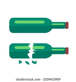 Two Glass Bottles of Beer with long necks and purple lids one of which is broken in two pieces with shards isolated vector illustration on white