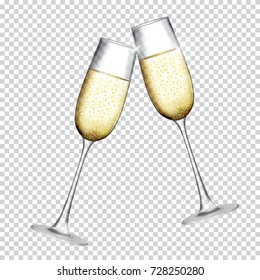 Two Glass of Champagne Isolated on Transparent Background. Vector Illustration EPS10