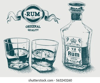 Two glasses of alcohol, bottle and rum logo. Design for advertising of strong alcoholic drink. Vector illustration