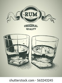 Two glasses of alcohol and rum logotype. Design for advertising of hard alcoholic beverages. Vector illustration