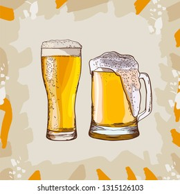 Two glasses of beer, hand-drawing oktoberfest beer, beer with foam. Vector drawing