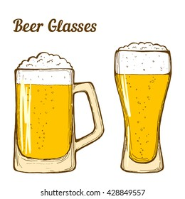 Two glasses of beer, hand-drawing oktoberfest beer, beer with foam. Vector
