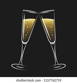 two glasses of champagne bubble vector illustration EPS10