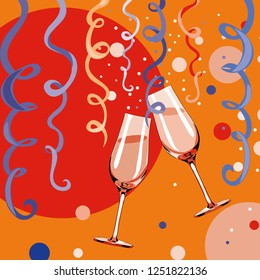 Two glasses with champagne with bubbles and confetti around them. Happy New Year 2019. Vector illustration on orange background
