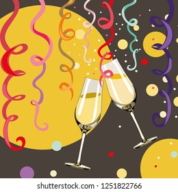 Two glasses with champagne with bubbles and confetti around them. Happy New Year 2019. Vector illustration on grey and yellow background