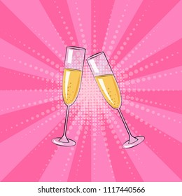 Two glasses of champagne on a pink background. Vector illustration in comic style.