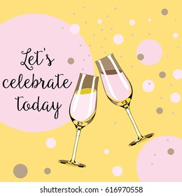 Two glasses with champagne with pink bubbles around them. Let's celebrate. Vector illustration on light orange background