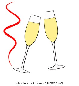 Two glasses with champagne, red ribbon, on white background. New Year, holiday card.
