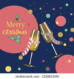 Two glasses with christmas scarves. Merry Christmas. Vector illustration on dark blue background with champagne bubbles around