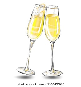 Two glasses filled with champagne glass. Vector illustration.