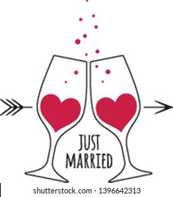 Two glasses with red champagne wine in the shape of a heart, with bubbles, arrow and an inscription Just Married for wedding design card and invitation