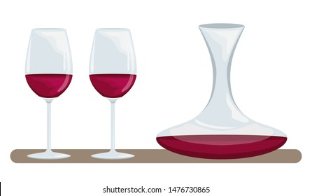 Two glasses of red wine and a decanter of wine. Proper use of wine. Accessories for drinking wine.