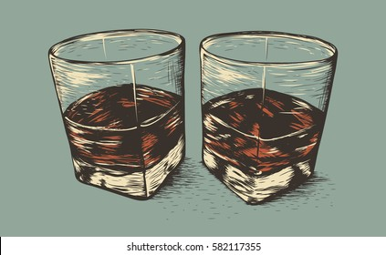 Two glasses with rum.Old style.Hand drawn work.Vector illustration
