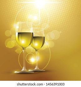 two glasses of white wine on a beautiful yellow vector background