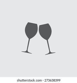 Two glasses of wine or champagne. Cheers icon. Vector illustration.