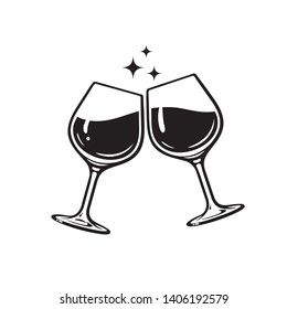 Two glasses of wine. Cheers with wineglasses. Clink glasses icon. Vector illustration isolated on white background.