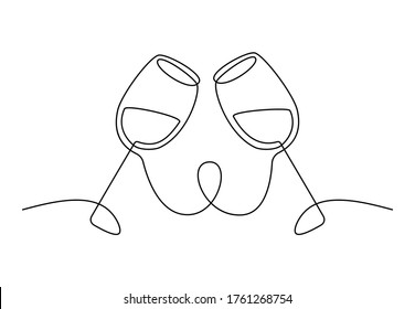 Two glasses of wine continuous one line drawing. Minimalist line art of cheering glasses of wine for logo. Vector illustration