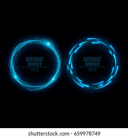 Two glowing neon banners are blue. Shining lights in motion with small particles. Flying motes and lights. Banners for the web. Vector illustration. EPS 10