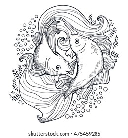 Two gold hand drawn fishes on coloring page