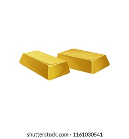 Two gold ingots, bars, banking business, prosperity, treasure siymbol vector Illustration on a white background