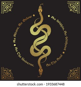 Two gold serpents intertwined. Inscription is a maxim in hermeticism and sacred geometry. As above, so below. Tattoo, poster or print design vector illustration