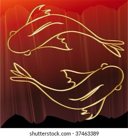 Two golden 3D fish on red wave background, illustration vector
