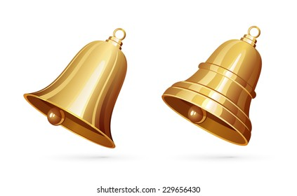 Two golden bells isolated on white background, illustration.