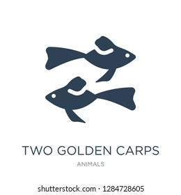 two golden carps icon vector on white background, two golden carps trendy filled icons from Animals collection, two golden carps vector illustration