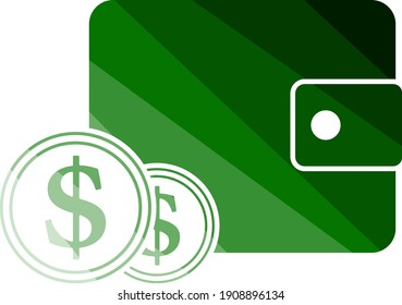 Two Golden Coins In Front Of Purse Icon. Flat Color Ladder Design. Vector Illustration.
