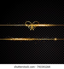 Two golden lines with bow. Isolated on black transparent background. Vector illustration banner