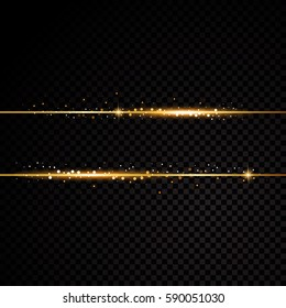 Two golden lines with light effects. Isolated on black transparent background. Vector illustration