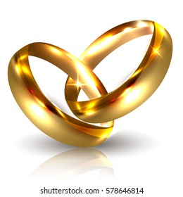 Two Golden Wedding Rings Isolated on White Background. Luxury 3D Vector Illustration