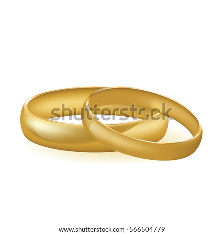 Two Golden Wedding Rings On Isolated Stock Vector Royalty Free