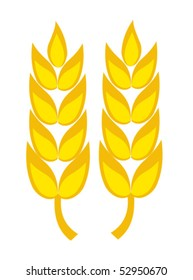 Two golden wheat ears vector illustration