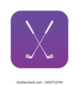 Two golf clubs icon digital purple for any design isolated on white vector illustration