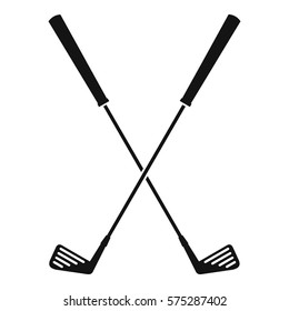 Two golf clubs icon. Simple illustration of two golf clubs vector icon for web