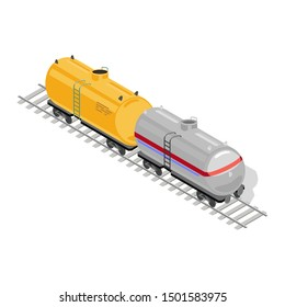 Two goods or freight wagons yellow and grey are on rail-track. Railway vehicles, railcars for transportation, transit of cargo, consignment. Vector isometric illustration isolated on white background.