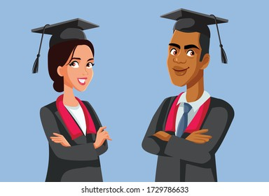 Two Graduate Students in Robes Vector Characters. Male and female graduates finishing university studies successfully