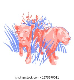 Two graphic female lions standing among the grass and bushes. Abstractt vector illustration drawn in the technique of rough brush