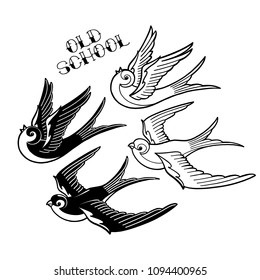 Two graphic flying swallows isolated on white background. Vector old school tattoo design. Traditional style. Coloring book page for adults and kids