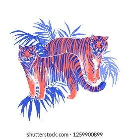 Two graphic tigers standing among the exotic leaves. Vector illustration isolated on white background