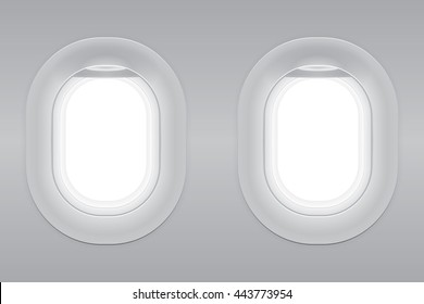 Two gray blank window plane, gray airplane window, gray light template, plain aircraft window white space.