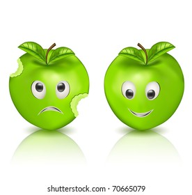 Two green apples - Character vector