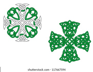 Two green celtic crosses isolated on white background, such a logo template. Jpeg version also available in gallery