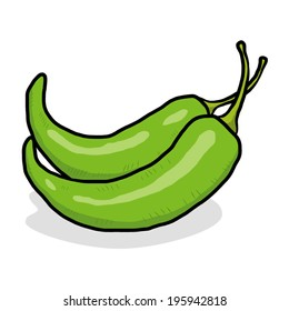 two, green chili peppers/ cartoon vector and illustration, hand drawn style, isolated on white background.