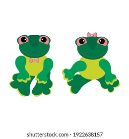 Two green frog toys on a white background. A girl and a boy.
