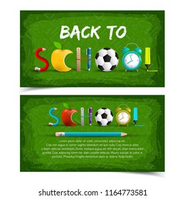 Two green isolated and horizontal back to school banner set with word school is made with items vector illustration